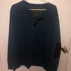 Sean John XL Navy Blue Shirt with Leather Elbows